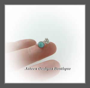 Turquoise + Sterling Silver + Flower Hand Fabricated Sleeper Hoops