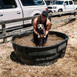 Celebrating a 2nd place finish in her first ever K9 Gladiator event with her dog, Cupcake.
