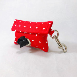 """Red Polka Dot"" Poop Bag Holder"