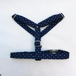 """Navy Polka Dot"" Harness"