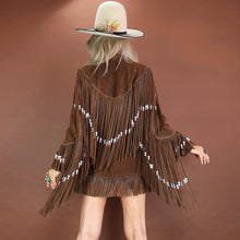 Load image into Gallery viewer, Cowgirl in the Sand (Beaded Chocolate Suede)