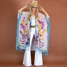 Load image into Gallery viewer, Ophelia ~ Beaded Caftan or Kimono with Tassels (Pink Turquoise)
