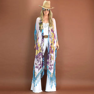 Ophelia ~ Beaded Caftan or Kimono with Tassels (Pink Turquoise)