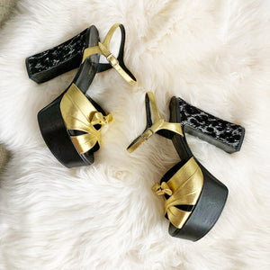 Saint Laurent Gold/Black Candy 80 Bow Sandal Platforms