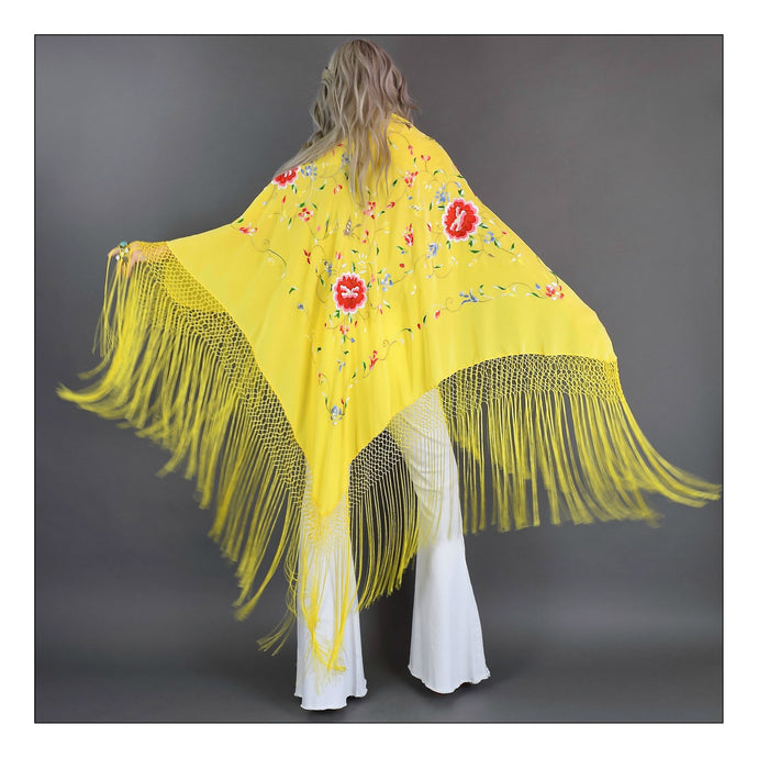 Wild Flower  (Bright Yellow with Mulit Color Embroidery)