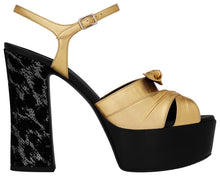 Load image into Gallery viewer, Saint Laurent Gold/Black Candy 80 Bow Sandal Platforms