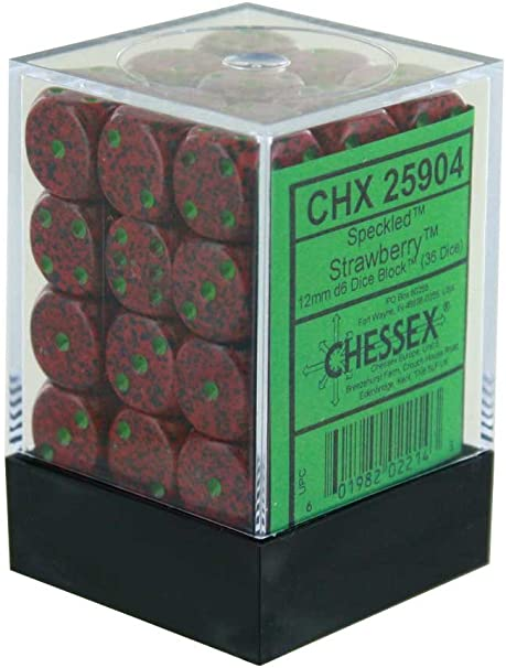 Chessex  Dice-Speckled: 36D6 Strawberry Set, Speckled Strawberry-CHX25904