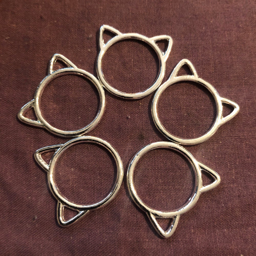 Stitch Marker Set - Cat Circle Silver
