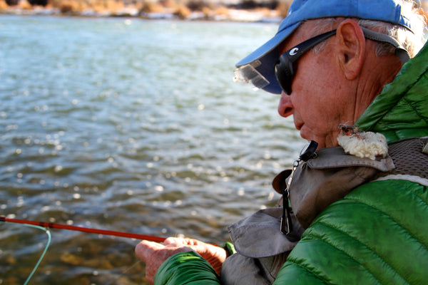 Patagonia founder Yvon Chouinard fly fishing his Epic 580 fiberglass fly rod