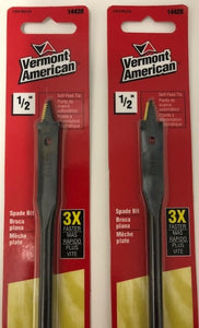 "Vermont American 14428 1/2"" x 16"" Extra long Self feed Spade Bit 2 pcs"
