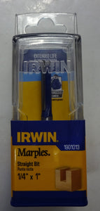 "IRWIN Marples 1901013 1/4 x 1"" Carbide Tipped Straight Router Bit 1/4"" Shank"