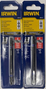 "IRWIN 1882429 Insert Bit Impact Double Ended 1/4"" Hex #2 #3 Square Drive 4"" Long 2pcs."