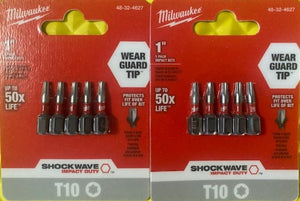 "Milwaukee 48-32-4627 SHOCKWAVE Torx #10 1"" Impact Duty Steel Screwdriver Bit 2 - (5-Pack)"