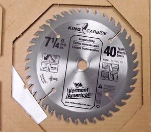"Vermont American  27250 7-1/4"" 40T King Carbide Saw Blade"