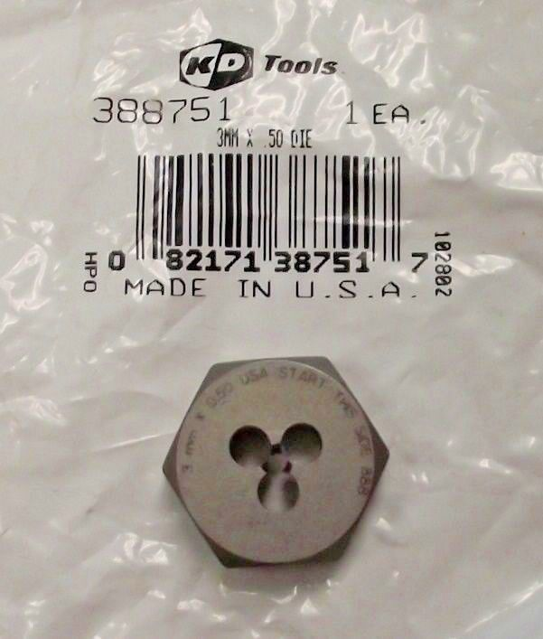 KD Tools 388751 3mm x .50 Hex Die USA