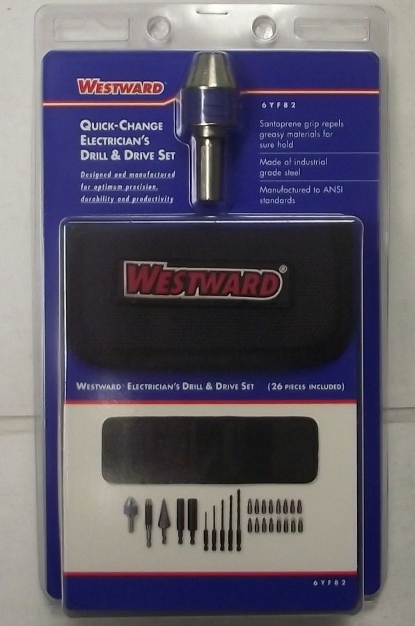 Westward 6YF82 26pc Quick Change Electricians Drill & Drive Set With Step Drill