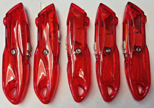 Generic Red Plastic Standard Retractable Utility Knife Red 5 Knives