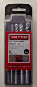 Craftsman 66311 5 Piece Rotary Masonry Drill Bit Set 5/32 3/16 1/4, 5/16, 3/8
