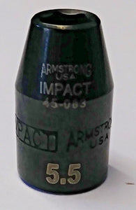 "Armstrong 45-083 1/4"" Drive 6 Point Impact Socket 5.5mm USA"