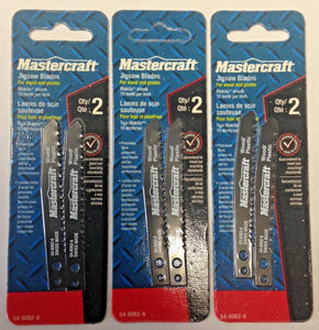 "Mastercraft 54-8062-6 4"" x 10 TPI Jigsaw Blades For Wood & Plastic 3 Packs of 2"