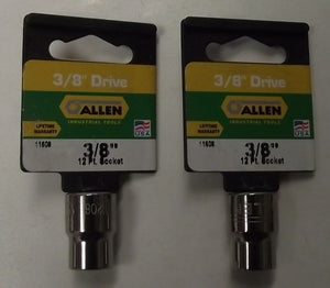 "Allen 11608 11208 3/8"" Drive 3/8"" 12pt Socket 2pcs. USA"