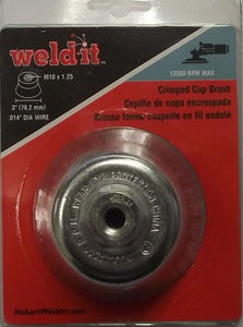 "Hobart 770378 3"" Crimped Cup Brush M10 x 1.25 .014 Dia Wire"