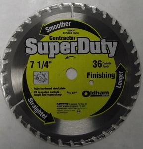 "Oldham B725C436 7-1/4"" x 36 Tooth Carbide Saw Blade BULK"
