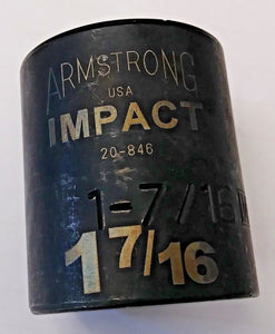 "Armstrong 20-846 1/2"" Drive 12 Point Impact Socket 1-7/16"" USA"