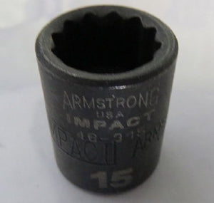"Armstrong 46-315D 3/8"" Drive 12 Point Impact Socket 15mm USA"