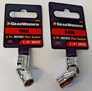 "Gearwrench 80255 1/4"" Drive 6 Point Flex Socket 9mm 2PCS"