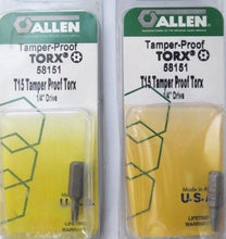"Allen 58151 T15 Tamper Proof Torx Bits 1/4"" Drive 2 Packs USA"