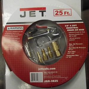"JET JAH-3825 3/8"" Industrial Air Hose 25ft With Blow Gun & Fittings"