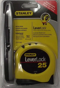 "Stanley STHT72600 25' LeverLock 1"" Tape Measure With Auto Blade Lock & Knife"
