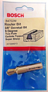 "Bosch 84702M 3/8"" Dovetail Bit 9 Degree Two Flute Carbide Tipped Router Bit USA"