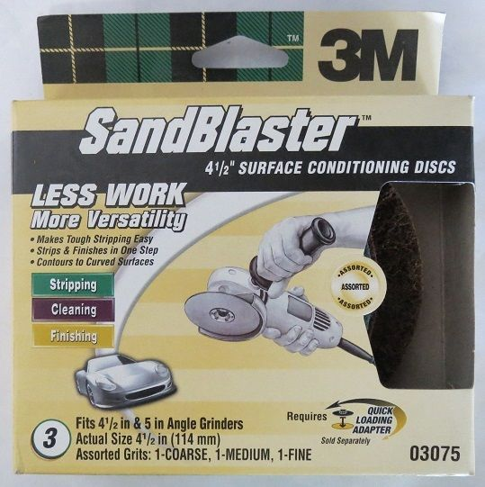 3M 03075 SandBlaster Auto Surface Conditioning Discs 3pk USA