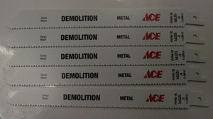 "ACE  2198711 8"" x 10TPI Bi-Metal Demo Cutting Recip Saw Blade 5pc Swiss"