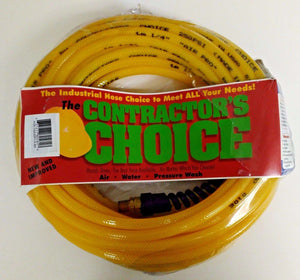 "Contractors Choice PUR-1/4x50RY-S-BR Polyurethane Air Hose 1/4"" x 50' Yellow USA"