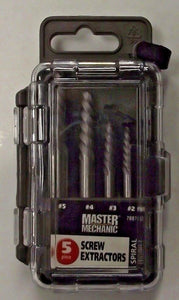 Master Mechanic 788713 Mibro Group 5 Piece Spiral Screw Extractor Set