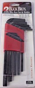 Buck Bros 41007 13 Piece Hex Key Set SAE .050 to 3/8""