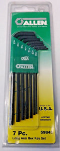 Allen 59845 7 Piece SAE Long Arm Hex Key Set With Storage Caddy USA