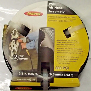 LEGACY HL23825BK2-A10 Air Hose 3/8 ID x 0.542 OD x 25 Ft. Black