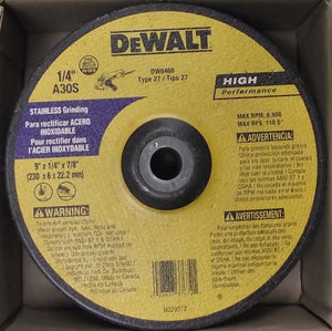 "Dewalt DW8468 Type 27 9"" x 1/4"" x 7/8"" Stainless Steel Grinding Wheel 10pc"