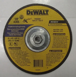 "DeWalt 9"" x 1/8"" x 5/8-11 Stainless Cutting & Grinding Wheel DW8458H 1pc. Canada"