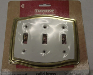 Taymor 02-D7535W Solid Brass & White Triple Switch Cover