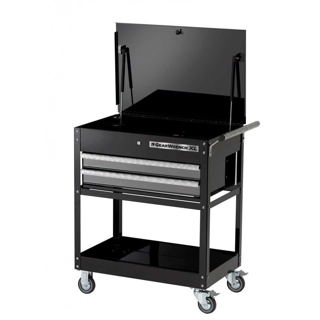 GearWrench 83152 2 Drawer Tool Cart Gas Shocks Powder Coated Black Lock Casters
