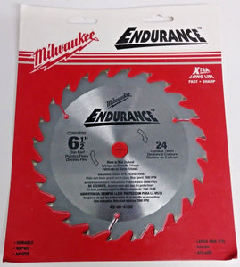 "Milwaukee 48-40-4108 6-1/2"" x 24 ATB Saw Blade Carded"