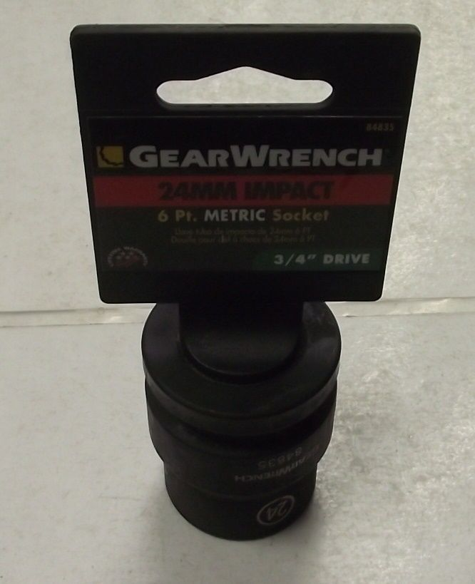 GearWrench 84835 24mm - 3/4-Inch Drive 6 Point Standard Impact Socket