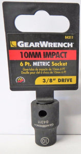 "Gearwrench 84311 3/8"" Drive 6 Point Standard Impact Metric Socket 10mm"