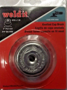 "Hobart 770382 3"" Knotted Cup Brush M10 x 1.50 .014 Dia Wire"
