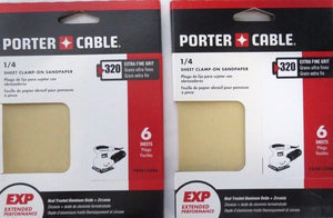Porter Cable 782813206 PC 1/4 Sheet Clamp On 320 Grit 6PK Premium 2 Packs